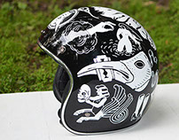 Black helmet painting