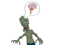 Zombie/Brain. Illustrations for T-shirts