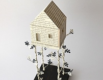 Paper and Wood House on Branches - Night Lamp