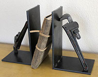 Pipe Wrench Bookends