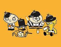 ILLUSTRATIONS & POSTERS   Orange Clock & Cartoons