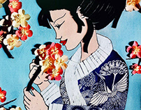 Geisha and the cherry blossoms - Quilling & Paper craft