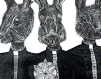 Drawing. Three hares