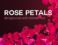 4 Rose Petals Backgrounds with Editable Text PSD