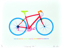 """I love my bike"" 7 colour screen print"