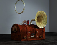 Steampunk Radio 3D Render
