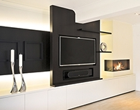 Media unit and fireplace joinery, Essex UK