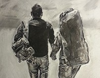 """Finally Home"" - Charcoal Drawing"