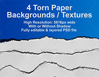 4 Realistic Ripped Paper Backgrounds / Textures PSD