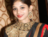 Zardosi Worked Blouse With Red Chifon Sari