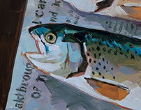 Trout on Newspaper