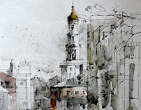 Watercolor. City landscape. Kharkiv, Universitetskaya.