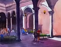 Firenze - Turisti nel chiostro