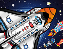 Space shuttle and rockets vector illustrations