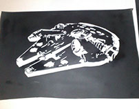 Stencil Falcon Millenium