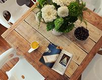 White kitchen and livingroom