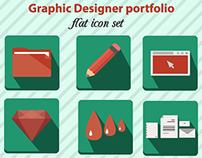 Portfolio flat icon set