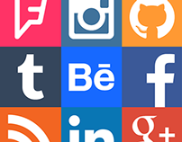 Social Network Square Icon Set