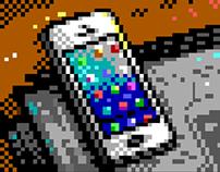 8-bit Mobile Phones Illustrations