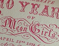 MEAN GIRLS anniversary party, Invitation design