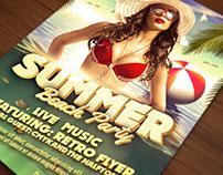 Retro Summer Beach Party Flyer Template