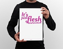 Movie quote poster print—It's just a flesh wound
