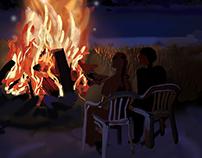 Lakeside campfire up north