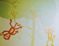 Monkey Town Wall Mural