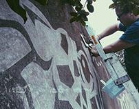 Giraffe Interactive Reverse Graffiti Mural