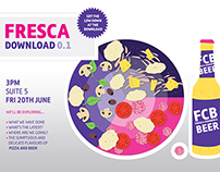 'Fresca Download' update poster -  free beer and pizza