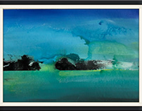 Acrylic on paper abstract landscape painting