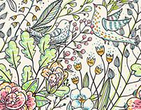 """Sketchy nature""- vector seamless patterns."