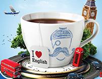 Рекламный постер для школы иностранных языков