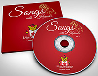 CD disk and cover design with mockups for Maple Bear