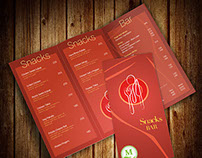Menu card mockup for a Snack & Bar