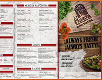 "Menu design for ""La Playita"" Mexican Restaurant"