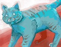 Blue Cat Illustration