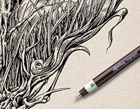 Reindeer Skull Ink Drawing