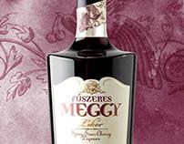 Rézangyal Spicy Sour Cherry Liqueur label design