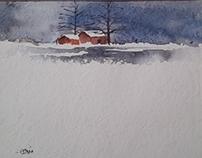 Snow watercolour