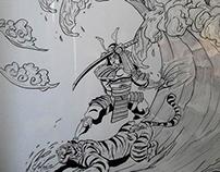 Japanese Art Festival Surfing Samurai