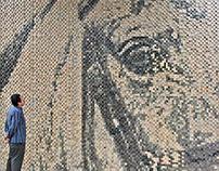pixelated wood mural