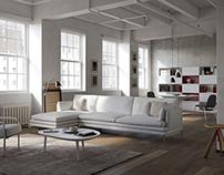CGI concrete loft with italian furniture Zanotta
