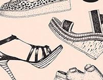 Ilustración de bolsa para marca de zapatos