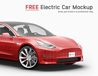 Tesla 3 Electric Car Mockup - Free Sample