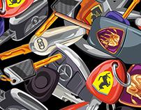 Luxury Car Keys Pattern (Sprayground Backpack)