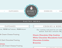Wynne's Cake Company Menu Design
