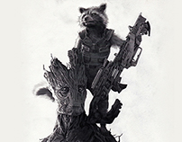 Rocket the Raccoon & Groot by Julio Lucas