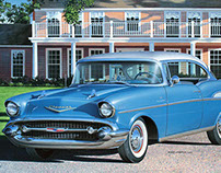 '57 Chevrolet Bel Air Coupe, car illustration (2002)