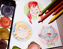 Watercolor characters